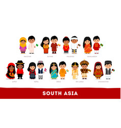 Asians in national clothes south asia set of vector