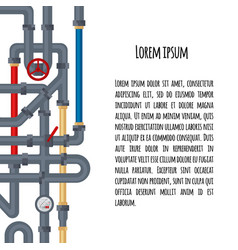background with tubes and pipelines on white and vector image