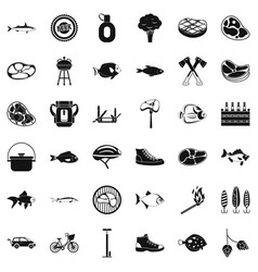 bbq party icons set simple style vector image