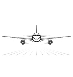 Black silhouette of a jet airliner coming vector