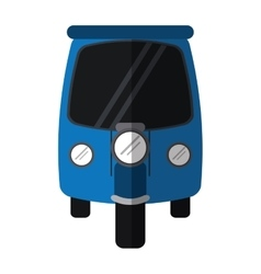 Blue motor rickshaw transport tricycle vector