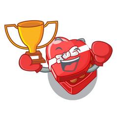 boxing winner chocolate heart box above cartoon vector image