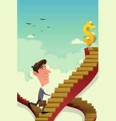 Businessman going up on a career ladder vector