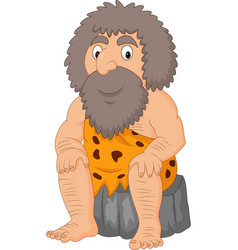 Cartoon caveman sitting vector