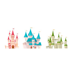 castles medieval castle with towers and flags vector image