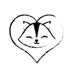 cat clossed eyes love sketch vector image vector image
