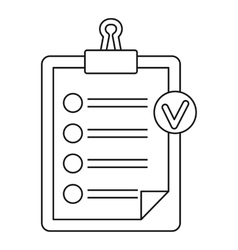 Check list on a clipboard icon outline style vector image