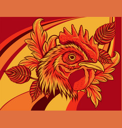 Chicken rooster head with flower vector