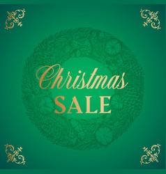 Christmas sale abstract retro label sign vector