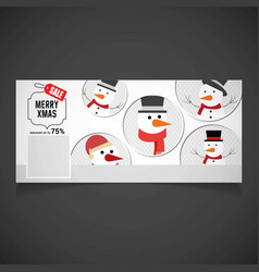 Christmas sale with snowman set vector