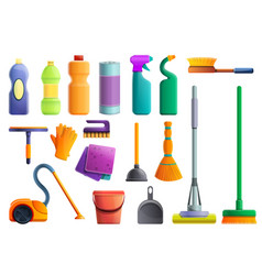 Cleaner equipment icons set cartoon style vector