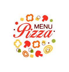 colorful flat logo for pizza menu in circle shape vector image