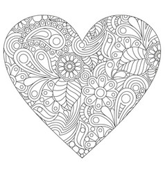 coloring in the shape of a heart vector image