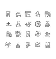 computer programming line icons signs set vector image