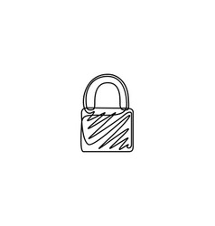 continuous one line drawing padlock vector image