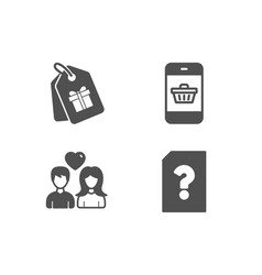 couple love smartphone buying and coupons icons vector image