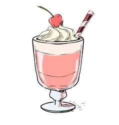 Creamy milk shake with cherry and foam vector
