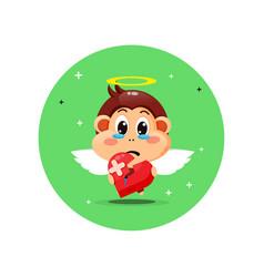 Cute angel monkey is sad holding love vector