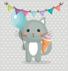 cute cat with ice-cream sweet kawaii character vector image