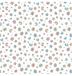 cute seamless pattern with hand drawn cartoon vector image