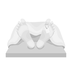 Deceased with tag icon in monochrome style vector