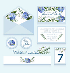 delicate wedding invitation in blue color vector image
