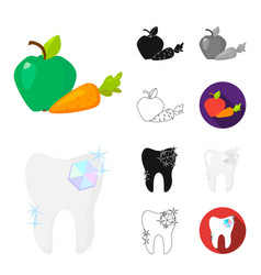 dental care cartoonblackflatmonochromeoutline vector image