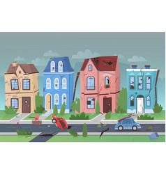 Earthquake nature disaster in small city flat vector