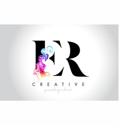 Er vibrant creative leter logo design vector