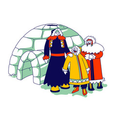 Eskimos family characters in traditional warm vector