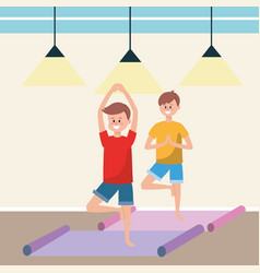Fit men practicing yoga vector