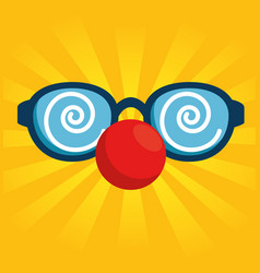 Fool clown glasses with red nose vector