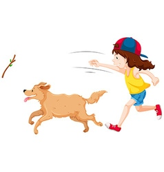 Girl throwing stick and dog catching it vector