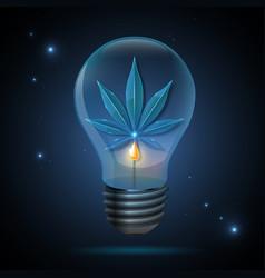 Glass transparent cannabis leaf in light bulb vector