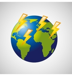 Globe earth weather meteorology lightning vector