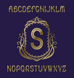 golden initial monogram template on shield with vector image