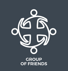 group friends thin line vector image