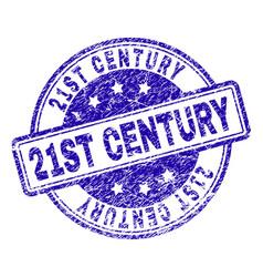 Grunge textured 21st century stamp seal vector
