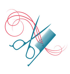 hairdressing scissors and comb hair symbol vector image