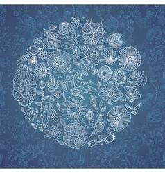 Hand drawn underwater world background vector