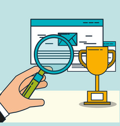 hand holding magnifying glass email trophy digital vector image