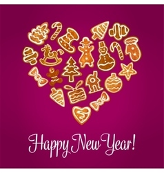 Happy New Year heart of gingerbread cookies vector image