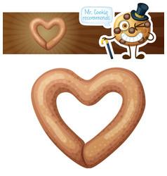Heart shaped pretzel cookie cartoon vector