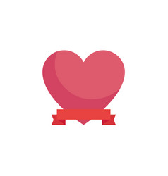 heart with ribbon banner vector image