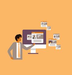 indian man choosing different user job vacancy vector image