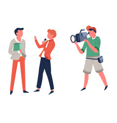 Interview reporter and operator television program vector
