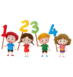 Kids holding numbers on the stick vector