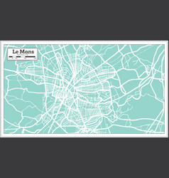 le mans france city map in retro style outline vector image