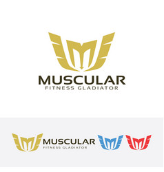 Letter m - muscle fitness gladiator logo design vector