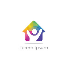 Low poly home icon real estate logo vector
